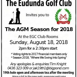Eudunda Golf Club AGM – 18th Aug 2018