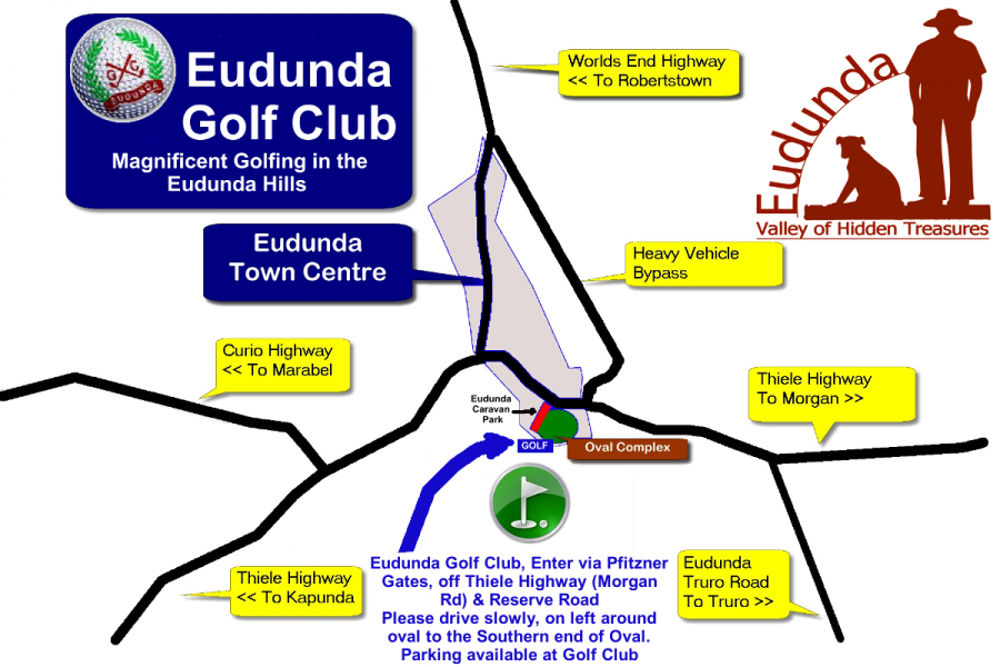 Map of Eudunda showing Location of Eudunda Golf Club